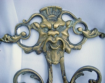 PAIR Grotesque GREEN MAN French France Brass Wall Sconces Sconce Victorian Antique