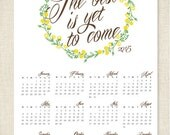 Wildflower Wreath 2015 Calendar Poster, Wall Calendar