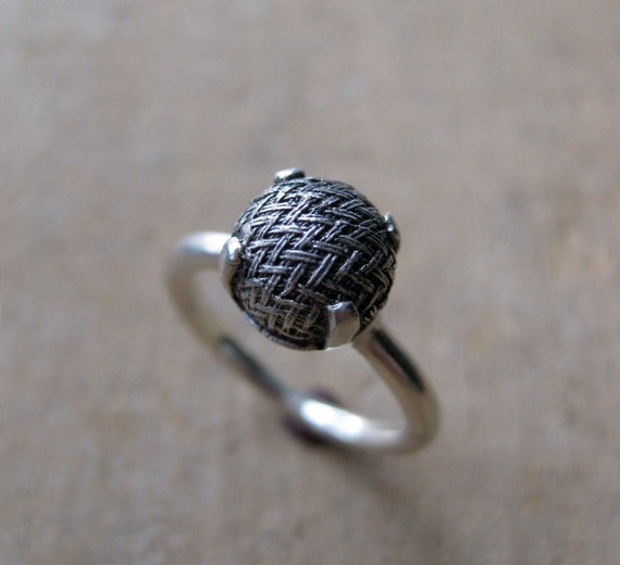 Old victorian button ring WOVEN Made to Order