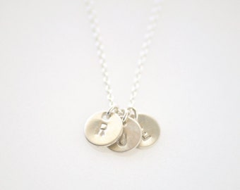 3 Initial Charms necklace - delicate sterling silver necklace - engraved jewelry - tiny personalized necklace - Tiny 3 Initials silver