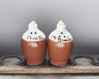 SALE! Vintage Salt and Pepper Shakers - ceramic I love thee little brown jug - alcohol liquor whiskey moonshine jug S & P