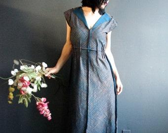 Tea with an Artist - iheartfink Handmade Hand Printed Womens Teal Metallic Deep Plunge V Neck Raw Edgy Wearable Art Short Sleeve Maxi Dress