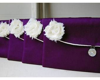 purple satin clutch, bridesmaid gift clutch, satin purse set 4, purple satin clutch, purple favor bag, gift bag, purple purse, cosmetic bag