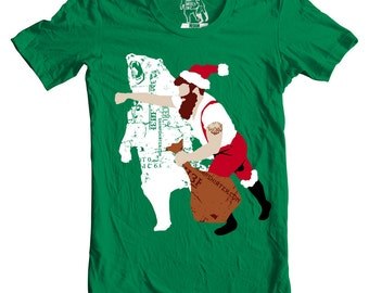 Men's X-mas Haymaker, Holiday, Christmas Bear Punch, Xmas Tee, T-shirt, Shirt, Santa, Gift for guys, For him, Funny animal graphic tee, S-2X