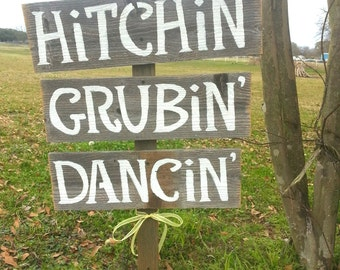 Fun Reception Signs, Rustic Signs, Hitchin Sign, Grubin Sign, Dancin Sign, Outdoor Wedding Signs, Hand Painted Reclaimed Wood Signs, Dancing