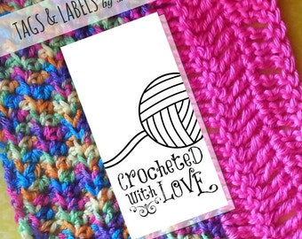Printable PDF Product Tags or Sticker Labels - Crocheted with Love