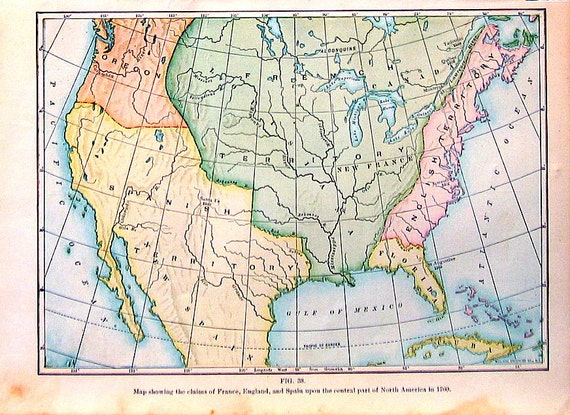 1912 Antique Colored Map - Claims of England, France and Spain 1760 - 9 x 7