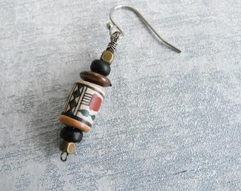 Tribal Earring // Single Dangle Earring // Boho Earring // Vintage Bead Earring // Modern Bohemian Jewelry Handmade by Luluanne