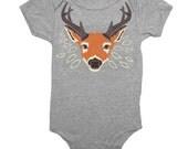 BABY Deer - Infant One Piece Boy Romper Girl Jumper Newborn Cute Bambi Disney Woodland Nature Forest Doe Fawn Buck Antlers Animal Onesie