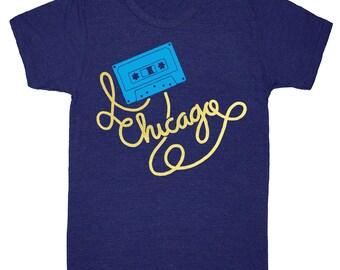 Chicago Cassette Tape - T-Shirt Mens Unisex Music DJ Mixtape Illinois Midwest Windy City Eighties Retro Vintage Tri Blend Indigo Tee Shirt