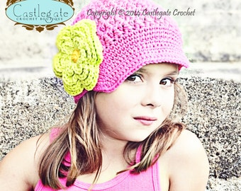 Flower Beanie with Brim - Hot Pink, Hot Green, Gold