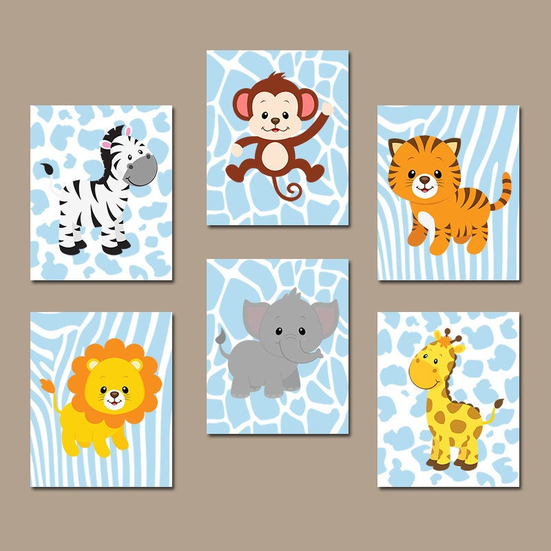 Baby Boy Nursery Wall Art JUNGLE Animals Artwork By TRMdesign