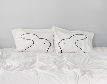 Best Bunnies Pillowcases Set of 2 : cotton anniversary gift for women, couples gift set, home decor, bunny rabbit pillows, gift for her