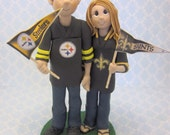 Custom wedding cake topper, personalized cake topper, Bride and groom cake topper, Mr and Mrs cake topper, football fans cake topper