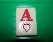 Vintage Rummy Game Piece Ace of Hearts, Valentine Game Chip, Resin, Jewelry Supplies, Craft, Mixed Media, Letter A, Heart, Valentine