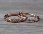 Diamond Eternity Twig Band & Feather Band Set: Yellow, White, or Rose Gold; Set of 2 Rings