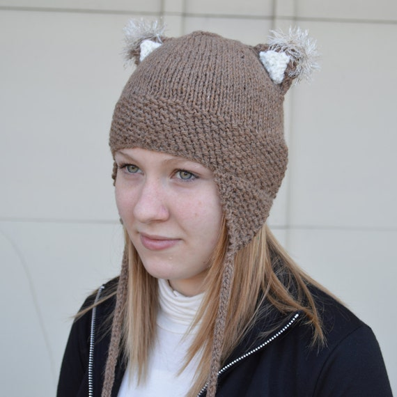 Sand Kitty Cat Ears Hat Knit Beanie with Cat Ears and Ear Flaps - Adult Women Cat Hat