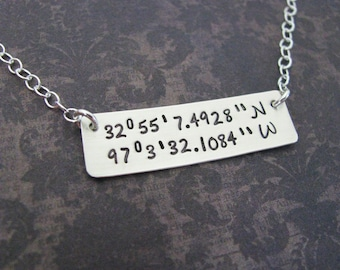 custom longitude and latitude bar necklace - personalize with the coordinates of your special location