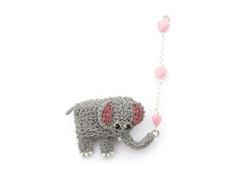 Elephant brooch - elephant with hearts double brooch, cute animal pin, elephant jewelry, unusual brooch, grey and pink, animal brooch