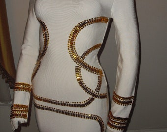 Reduced  AMAZING DRESS Kim Kardashian Look Heavy Amber Glass Beading on this Designer White stretch Blend Fabric