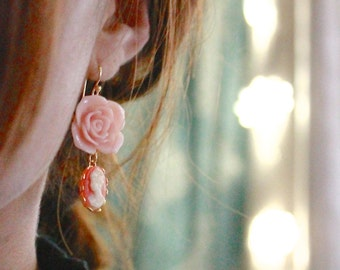 Chloé In Coral- rose cameo Earrings 14kt.G.F.