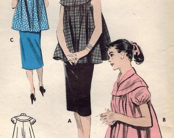 1950s Butterick 7388 Vintage Sewing Pattern Misses Maternity Pullover Top, Skirt Size 12 Bust 30, Size 16 Bust 34