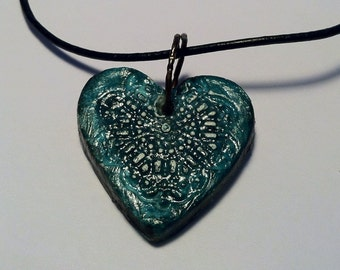 Aromatherapy Essential Oil Diffuser Jewelry Clay Pendant - Teal Heart Steam Punk Rustic Old World Style