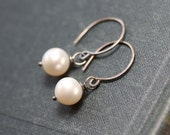 Cultured White Pearl Earrings Rustic Antiqued Sterling Silver Earrings Real Pearl Freshwater Pearl Jewelry
