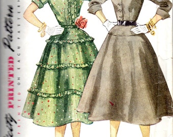 1950s Simplicity 3942 Junior Misses Dress Pattern With Full Skirt Womens Vintage Sewing Pattern Size 15 Bust 33