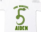 Birthday boy shirt personalized birthday boy snake tshirt - great for reptile themed birthday party