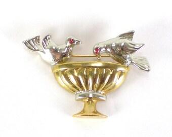 Bird Feeder Brooch Pin - Gold Silver brooch - Vintage Brooch - Vintage Accessories - Vintage Jewelry