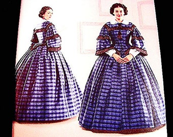Historical Womens Civil War Dress Pattern Gone With The Wind Dress Costume Sewing Pattern Misses size 8 10 12 14 UNCUT