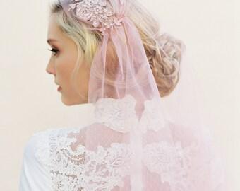 Pink Wedding Veil, Blush Veil, Lace Veil, Alencon Lace, Cap Wedding Veil, Juliet Cap Veil, Bridal Cap, Juliet Veil, 1920s Veil, Style 1510