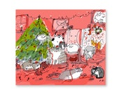 Funny Christmas Card - Cat - Christmas Wrap Up