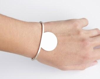 Minimal cuff bracelet, gift, Sterling Silver Cut Circle and Square Wire Cuff, Geometric Silver Cuff Bracelet, Minimalist cuff, Secant line