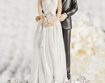 Rose Pearl Bride and Groom Wedding Cake Topper - Custom Painted Hair Color - Groom in Navy Suit - 101120/21
