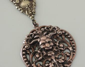 Vintage Pendanat - Pan Devil Gargoyle Pendant - Vintage Brass Stamping - Large for Necklace - handmade