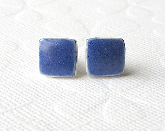 Small Blue Earrings. Squares. Stud Earrings. Cobalt Blue. Ceramic. Sapphire Blue. Royal Blue. Clay. Posts. Surgical Steel. Cube. Minimalist
