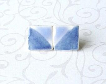 Medium Small Porcelain Earrings. Square. Cornflower. Light Blue. Studs. Light Denim. Periwinkle. Posts. Surgical Steel. Simple. Comfortable