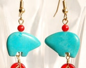 Turquoise Bear Fetish Earrings Your Choice of Leaf or Flower Accents - Southwestern Style - Red and Turquoise Earrings, Tribal Earrings