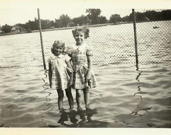 Wading in the Floodwaters Photo, Miller Park Bloomington Illinois, 30s Black and White Paper Ephemera Souvenir