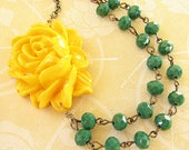 Statement Necklace Bridesmaid Jewelry Flower Necklace Yellow Jewelry Green Necklace Double Strand Beadwork