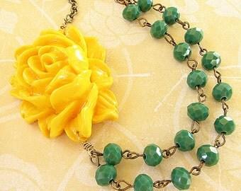 Statement Necklace Bridesmaid Jewelry Flower Necklace Bib Necklace Yellow Jewelry Green Necklace