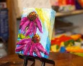 Purple Cone Flowers 5x7 Inch Original Impasto Oil Painting by Paris Wyatt Llanso