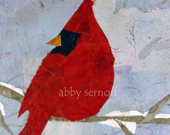 Cardinal Art -  Fine Art Print- Bird Art - Collage Art - 8 x 10 - 5 x 7 - 4 x 6