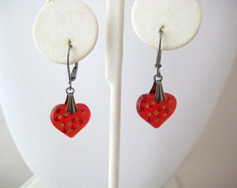 Ruby Red Glass Puffy Heart Dangle Earrings Gunmetal Hardware, Sweetheart Romance Collection