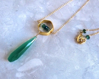 Green Chalcedony Necklace- Apatite, Aquamarine, Gold Filled