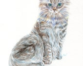 custom cat portrait of your beloved cat, room decor, wall art and special gifts for cat lovers