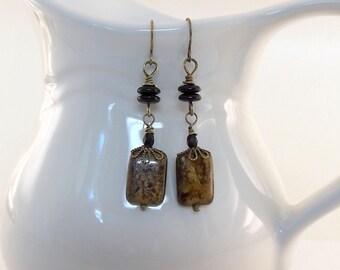 Bronzite and Black Earrings - Antique Brass Earrings - Brass Earrings - Czech Glass Earrings - Brown Earrings - Brass Jewelry -Wire Earrings