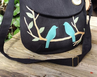 "Bird Tote/ SALE Black Canvas Tote, Vegan Purse, 12"" X 12"" , 3 Large Interior Pocket, 1 Zipper pocket, Handbag, School Bag, Messenger"